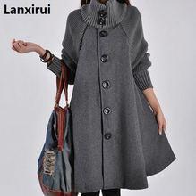 Woman Single Breasted  Long Sleeve Woolen Coats Lady Casual A  Line Long Coats Winter Warm Outwear