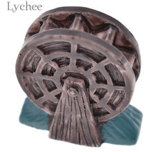 Lychee Zen Garden Resin Waterwheel Mini Crafts Figurines Miniatures Sand Tray Ornaments Home Decoration(China)