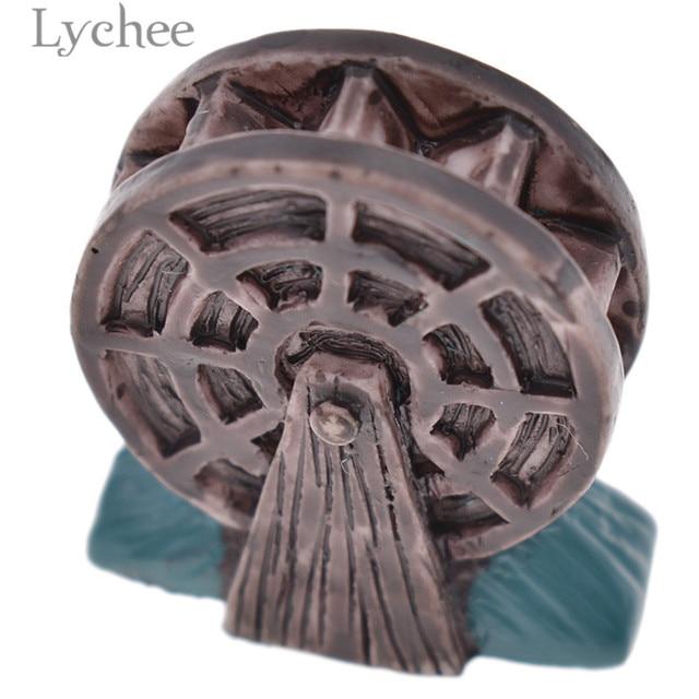 Lychee Zen Garden Resin Waterwheel Mini Crafts Figurines Miniatures Sand Tray Ornaments Home Decoration