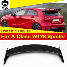 цены W176 A Class A45 Look Rear Wing Roof Spoiler A45AMG Style Carbon Fiber For Mercedes Sports A180 A200 A250 Trunk spoiler 2013-18