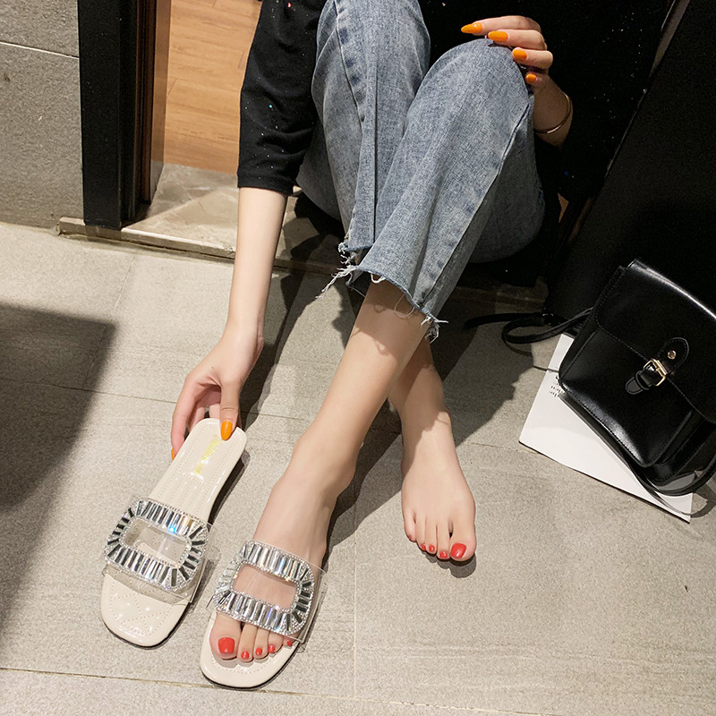 HKJL Slipper women 2019 summer new Korean version of the fashion one word transparent diamond slippers wear flat slippers A685 in Slippers from Shoes