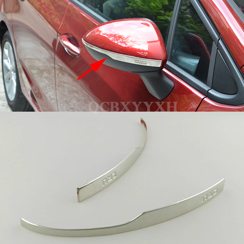 2pcsCar Styling Stainless Steel Rearview <font><b>Mirror</b></font> Cover Sequin Decorative Frame Chrome Exterior Accessory For Chevrolet Cruze 2017