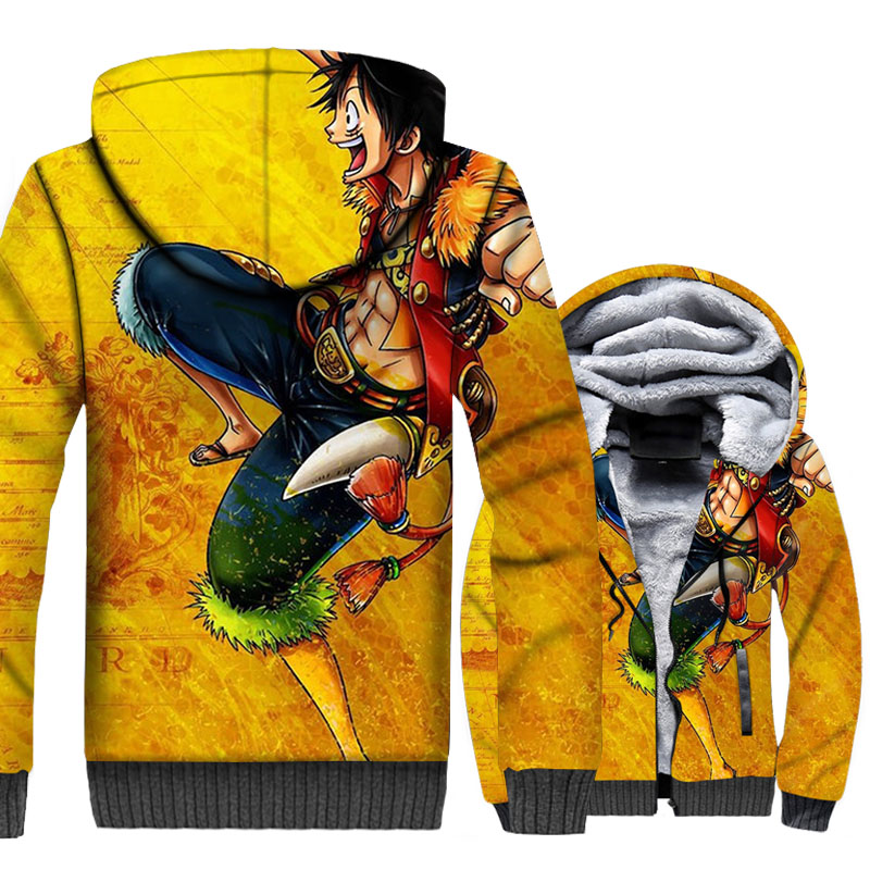 One Piece Luffy 3D Hoodies Men The Pirate King Jackets Hipster Sweatshirts Thick Fleece Harajuku Anime Coat Cool Sportswear in Hoodies amp Sweatshirts from Men 39 s Clothing