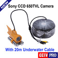 Only 24Pcs White Leds CCD 650TVL Underwater Video Camera With Two Stick +20m/66ft Cable For Fishing Camera System