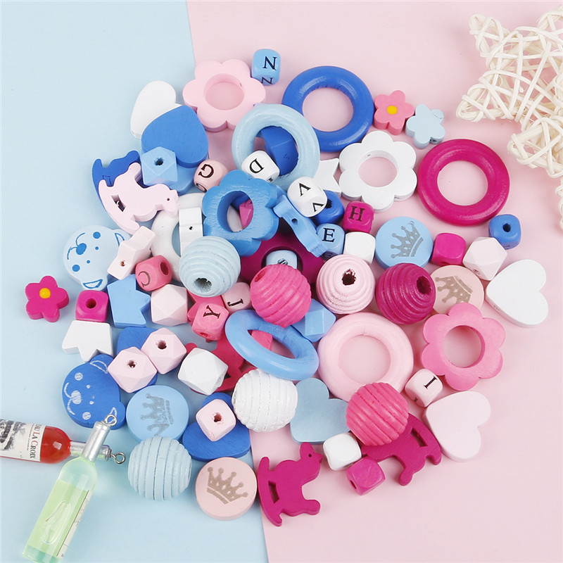 Mixed Color DIY Thread Beehive Wooden Beads For Jewelry Making Crafts Kids Toys Teething Spacer Beading Beads Multi-Pattern