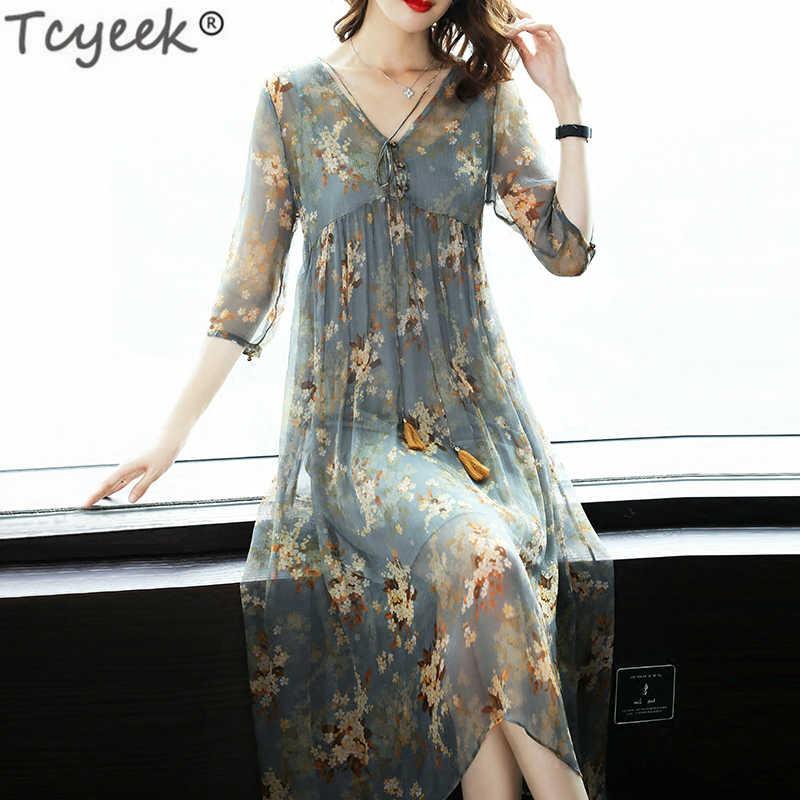 e3c244baf843e Yaz elbisesi Kadın Ipek Baskı Çiçek uzun elbise Vintage Elbiseler Maxi Plaj  Parti Elbise Vestidos Verano