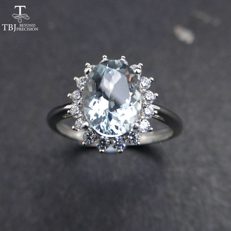 TBJ 100 natural Brazil aquamarine ov7 9mm gemstone ring in 925 sterling silver precious stone jewelry