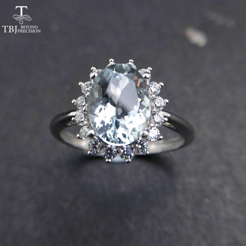TBJ 、 100% ナチュラルブラジルアクアマリン ov7 * 9 ミリメートル宝石リング 925 純銀製の貴重な石の女性のためのギフトボックス  グループ上の ジュエリー & アクセサリー からの 指輪 の中 1