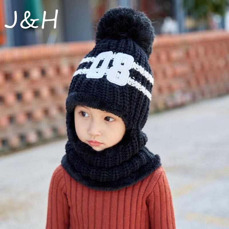 1 Pcs Kids Winter Hats Girls Boys Children Crochet Warm Caps Scarf Cute Pompom Thicken Knitted Hat Drop Shipping