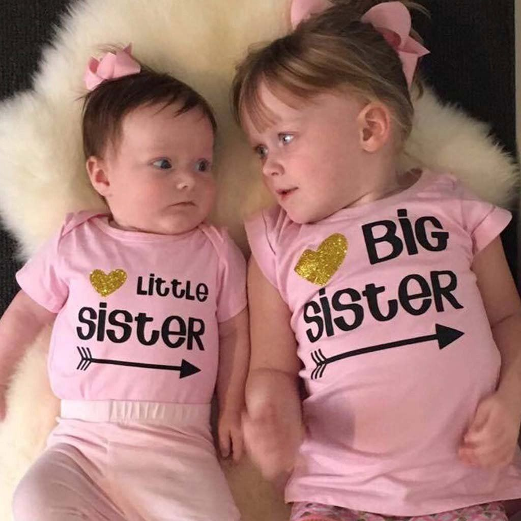 Pudcoco 2018 New Little Sister Baby Girls Romper Big Sister T-shirt Tops Tee Matching Outfits