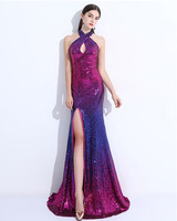 Purple Red Sequins Halter Cross Neck Maxi Dresses Backless High Side Split Gradient Party Dress Prom Evening Gown 3XL For Women