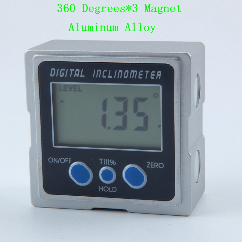 Digital Inclinometer PRO 360 Degrees Electronic Aluminum Alloy Protractor Three Magnet Base LCD Level Box Angle Gauge Meter 360 degrees
