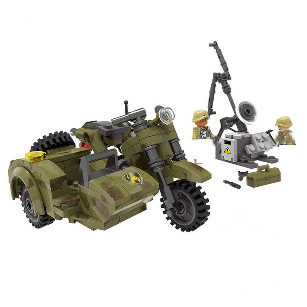 hot LegoINGlys military WW2 army motorcycle cavalry vehicles war MOC Building Blocks model mini weapons figures bricks toys gift