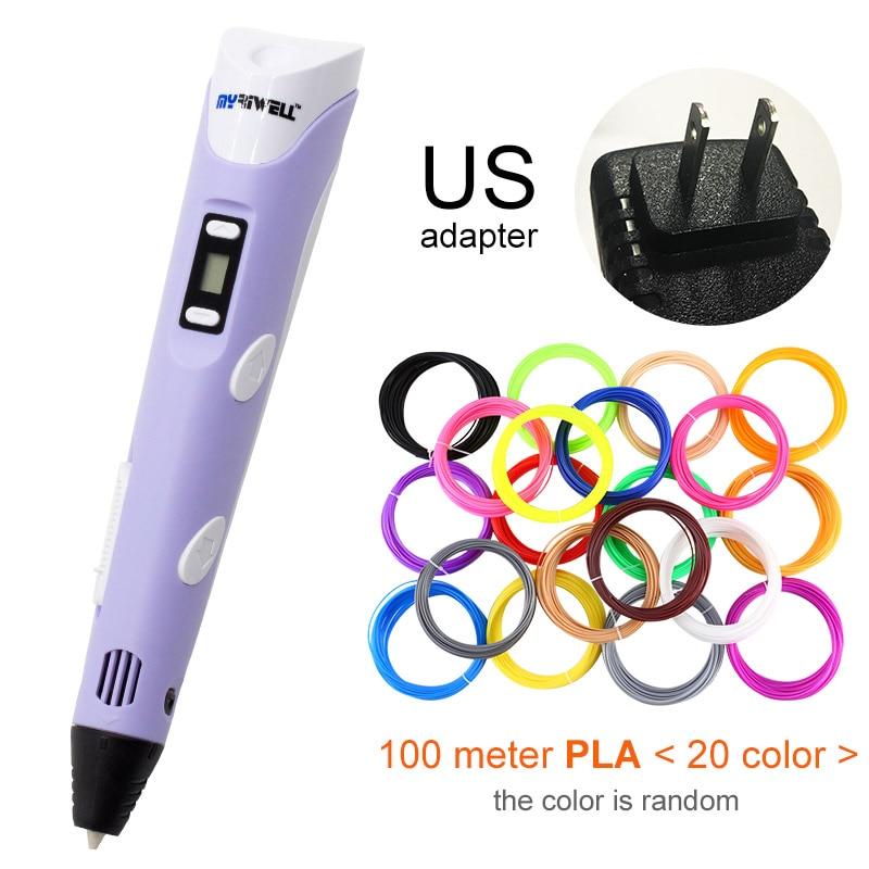 Myriwell, 3D ручка, светодиодный экран, сделай сам, 3D Ручка для печати, 100 м, ABS нити, креативная игрушка, подарок для детей, дизайнерский рисунок - Цвет: Purple US-100m PLA