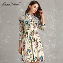 fdcf440980 MoaaYina moda diseñador pasarela vestido primavera mujer 3 4 manga  vuelta-abajo cuello capa encaje-Up Floral estampado vacacione.