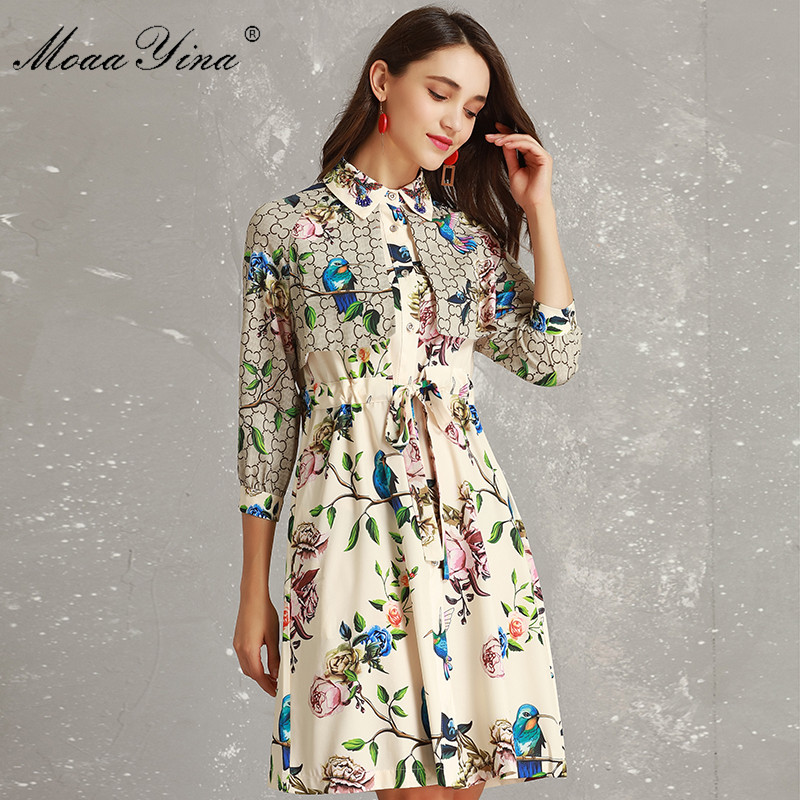 MoaaYina Styliste Piste Robe Printemps Femmes 3/4 manches Col rabattu Manteau à Lacets À Imprimé Floral Vacances robe élégante