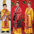 Adult childs costume chinese hanfu dress mens boys emperor king Stage Clothes cosplay costumes tang suit kids robe+hat set