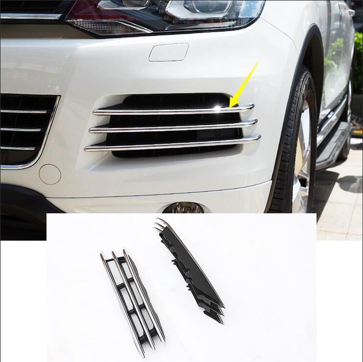 Voiture-cas de style Pour Volkswagen Touareg 2011-2015 mode Avant Brouillard Lumière Lampe side Grille Cover Garnitures de voiture style