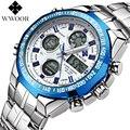 Top Brand WWOOR Мужские Полный стали Водонепроницаемый Спортивные Мужские Часы LED Цифровые Часы мужские Кварцевые Военный Световой Запястье часы