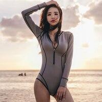 Rhyme Lady Custom Printed Surf Suit Fitness Long Sleeve Swimwear Women One Piece Rash Guard Bathing