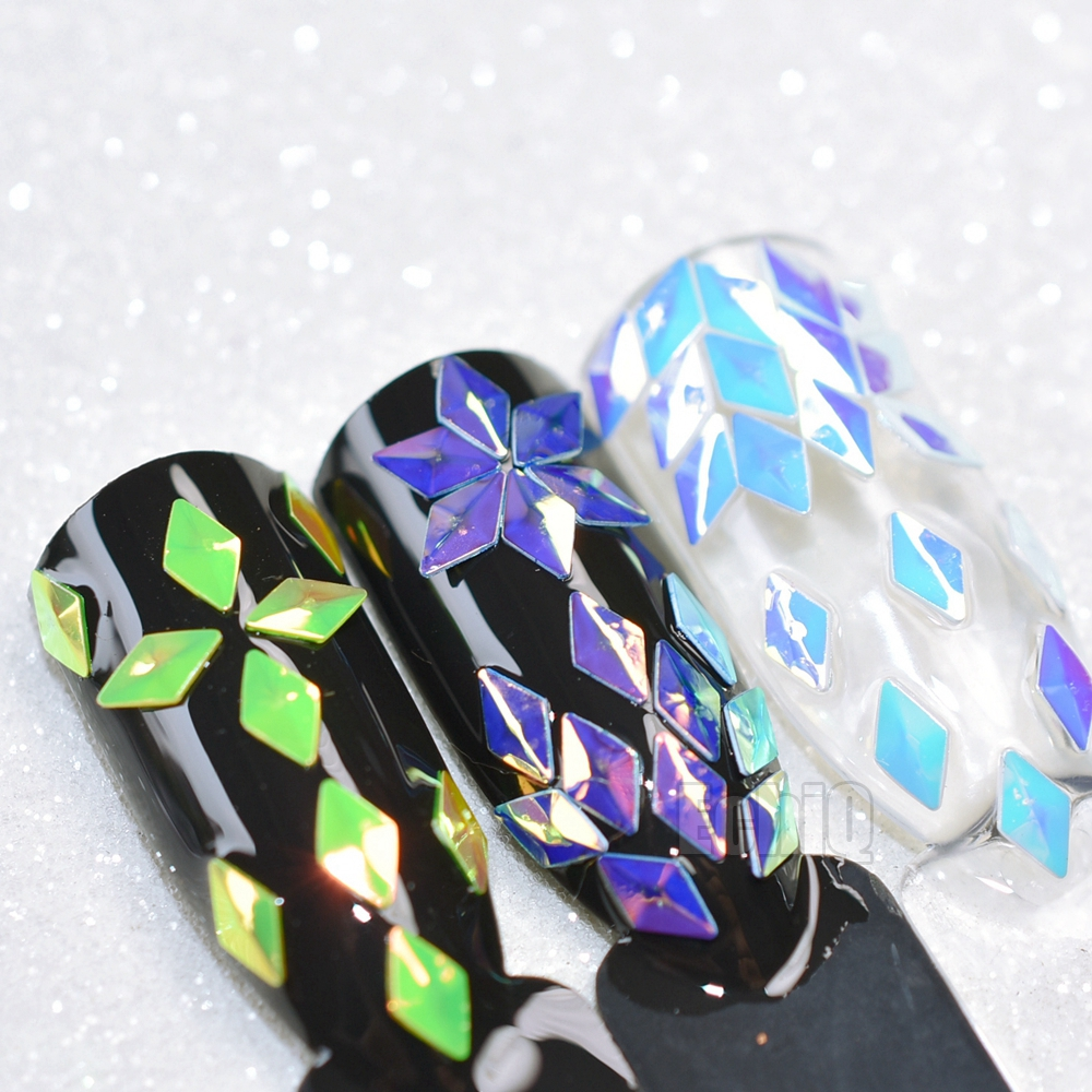 12 Colors/set Chameleon Diamond Rhombus Design 3D Nail Art Studs Holo Nail Glitter Sequins Manicure Nail Art Decorations 20pcs flame nail rhinestones glass for nails 3d nail art decorations charms glitter accessoires jewelry crystal manicure design