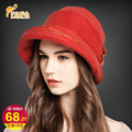 High Quality Wool Fashion New Vintage Women Ladies Floppy Wide Brim Wool Felt Fedora Cloche Hat Cap bow cap  B-0756
