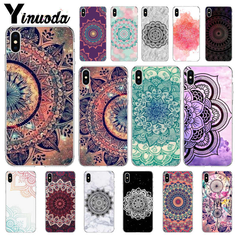 Yinuoda Mandala Bloem TPU Transparant Telefoon Case Cover Shell voor Apple iPhone 8 7 6 6S Plus X XS MAX 5 5S SE XR Cover
