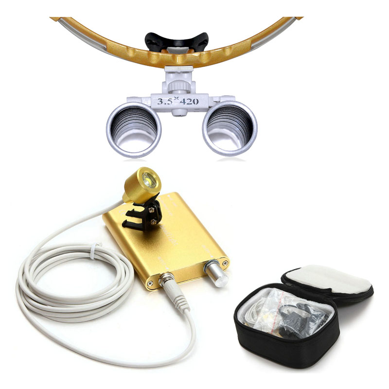 Yellow Dental equipment Surgical Medical dental Loupes dental glasses 3.5X 420mm+LED Head Light Lamp dental lab with carty Case hot sale g7 dental equipment surgical dental glasses 3 5x 420mm led head light lamp dental lab blue aa medical dental loupes