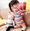 Jilly 2016 girls dress apparel 2~10Age Rainbow girl print dresses Pajamas children clothing 100%cotton high quality Factory sale
