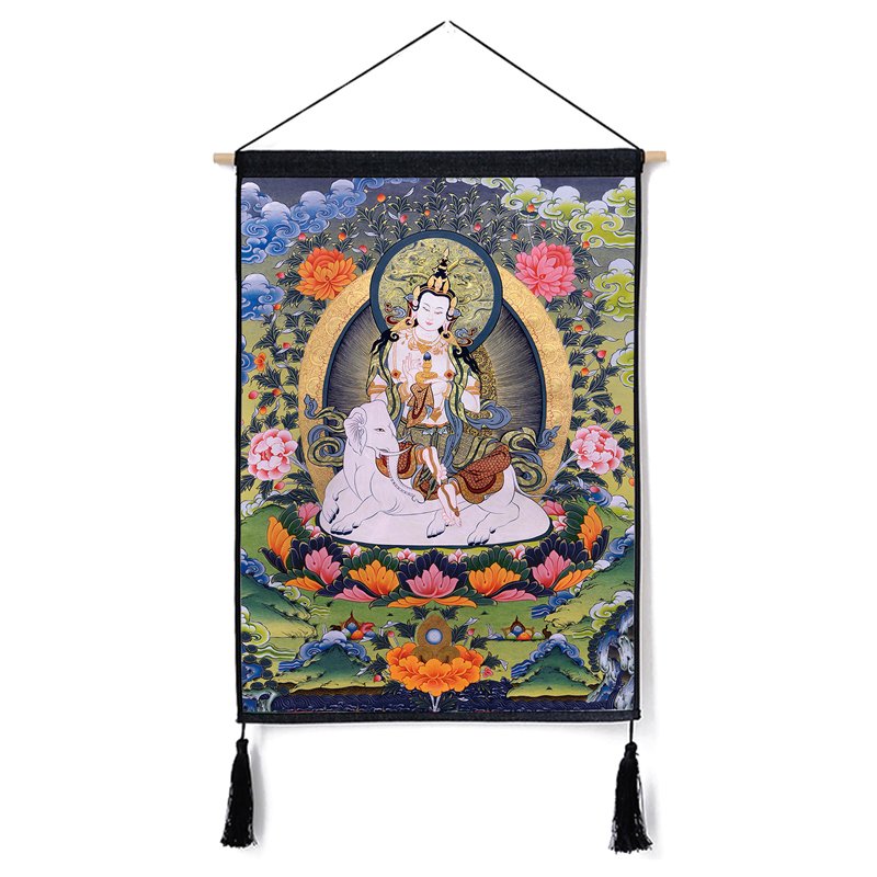Image 5 - Traditional Thanka Beautiful Buddhist Scroll Painting Home Decor Wall Hanging Tapestry Cotton Linen Scroll Painting with Tassels-in Painting & Calligraphy from Home & Garden