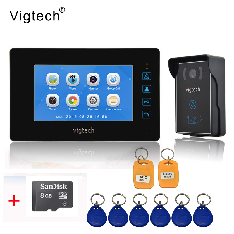 Vigtech7 inch LCD Video Doorbell Door phone Record Intercom System Infrared Night Vision Camera 8GB TF Card FREE SHIPPINGVigtech7 inch LCD Video Doorbell Door phone Record Intercom System Infrared Night Vision Camera 8GB TF Card FREE SHIPPING