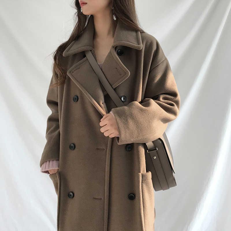 Jesień płaszcz zimowy kobiety wełniany płaszcz z mieszanki Oversize długi płaszcz znosić wełniany płaszcz kobiety znosić