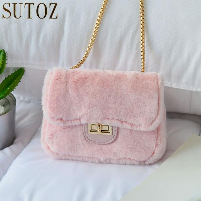 Lovely Short Plush Fur Bag Faux Crossbody Luxury Handbags Women Bags Designer Pink Small Messenger