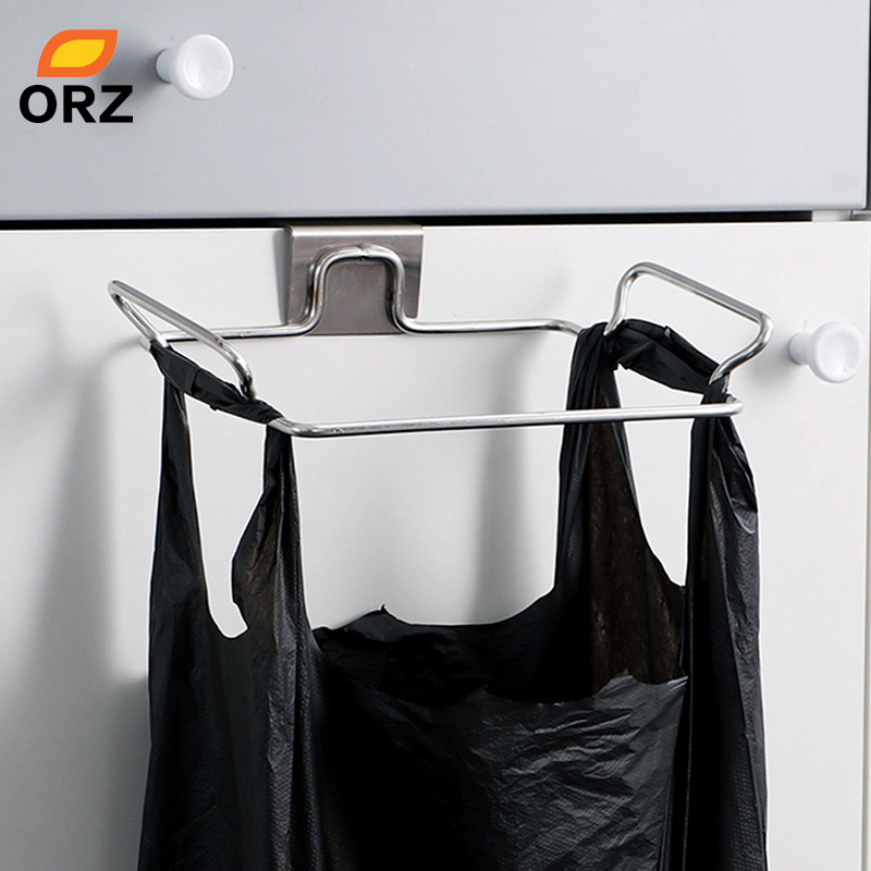 ORZ Large Garbage Bags Holder Kitchen Wash Cloth Towel Storage Rack Stainless Steel Hanging Cupboard Cabinet Organizer Shelf