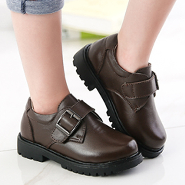 kids-brand-shoes 2017 New genuine leather boy shoes Children casual fashion cowhide kids black children girl leather shoes forma
