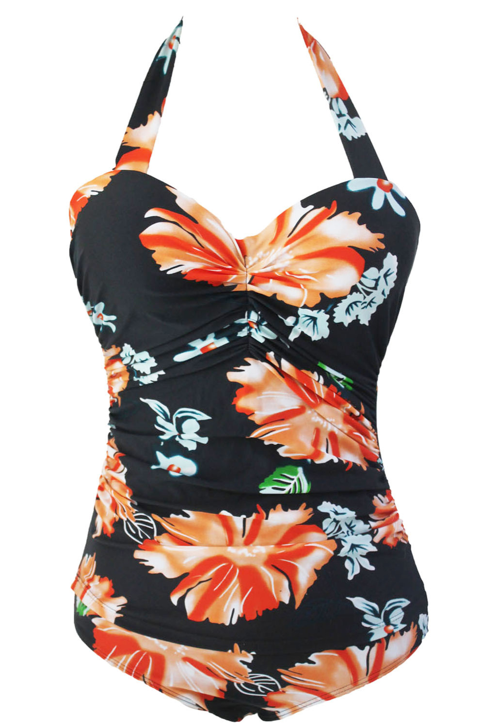 New One Piece Swimsuit Plus Size Swimwear Bodysuit Summer Style Sale Online Maillot bain Floral Print High Waist Swimsuit 41864 2017 new sexy one piece swimsuit strappy biquini high waist one piece swimwear women bodysuit plus size bathing suits monokinis