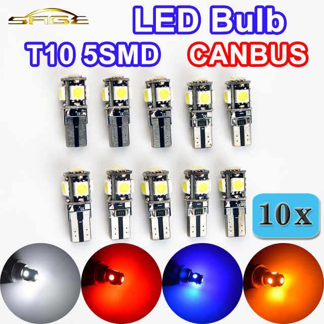 Hippcron T10 LED Lamp CANBUS 5SMD 5050 SMD Error Free Car Bulb W5W 194 Auto Rear Light White Blue Yellow Red Color (10 PCS)