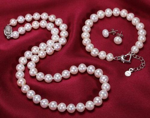 Livraison Gratuite>>>>> 9-10mm naturel du sud mer blanc perle collier bracelet boucles d'oreilles