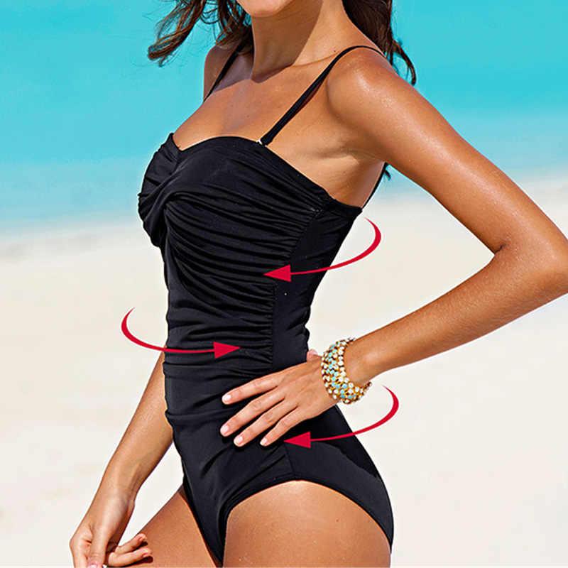 Женский слитный купальник большого размера, сморщенный купальный костюм, монокини, Цельный купальник, черный, белый, в полоску, в горошек, боди, однотонный, черный