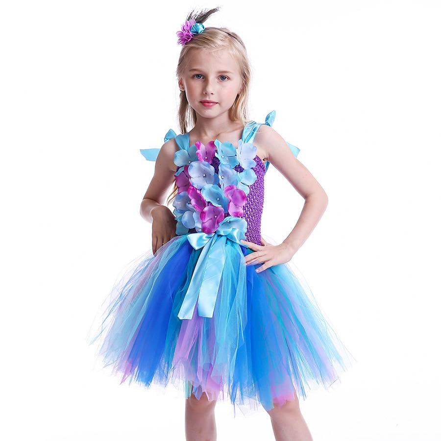 Girls Princess Peacock Flower Tutu Dress Children Handmade Purple and Blue Tulle (4)