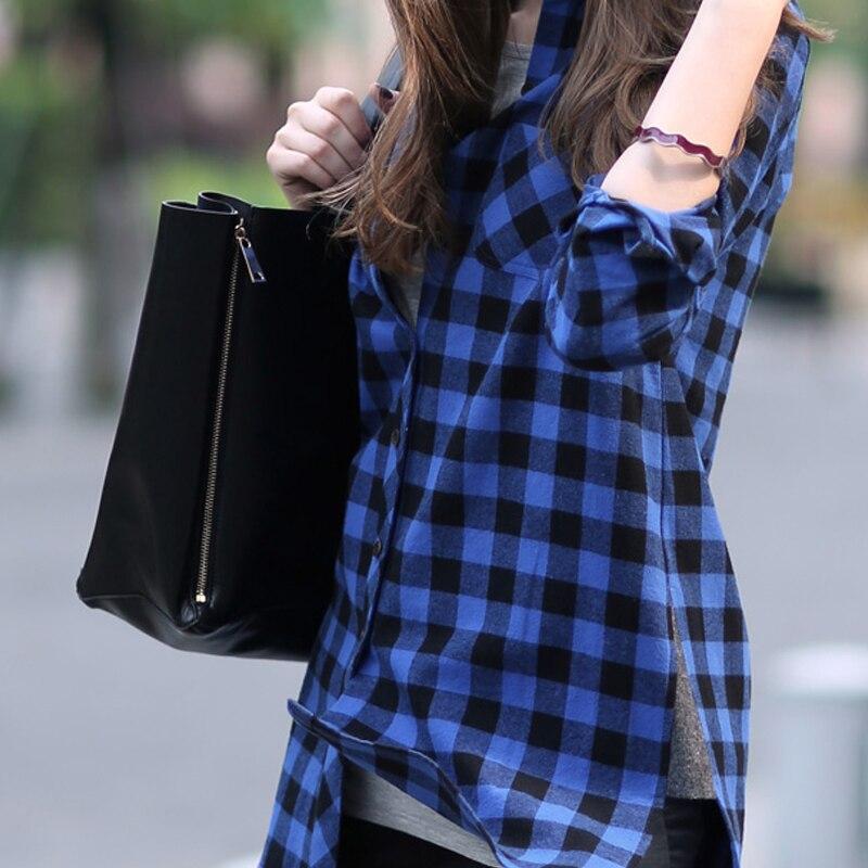 New Plaid Shirt Women Loose Cotton Plaid Blouses Long Sleeve ...