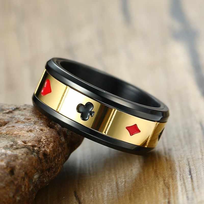 Vnox мужской счастливый браслет удачи и кольцо Ювелирные наборы винтажные кожаные браслеты игральные карты Raja Vegas аксессуары