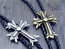 Bolo Tie  Retro shirt chain Poirot led rope cross leather necklace Long tie hang