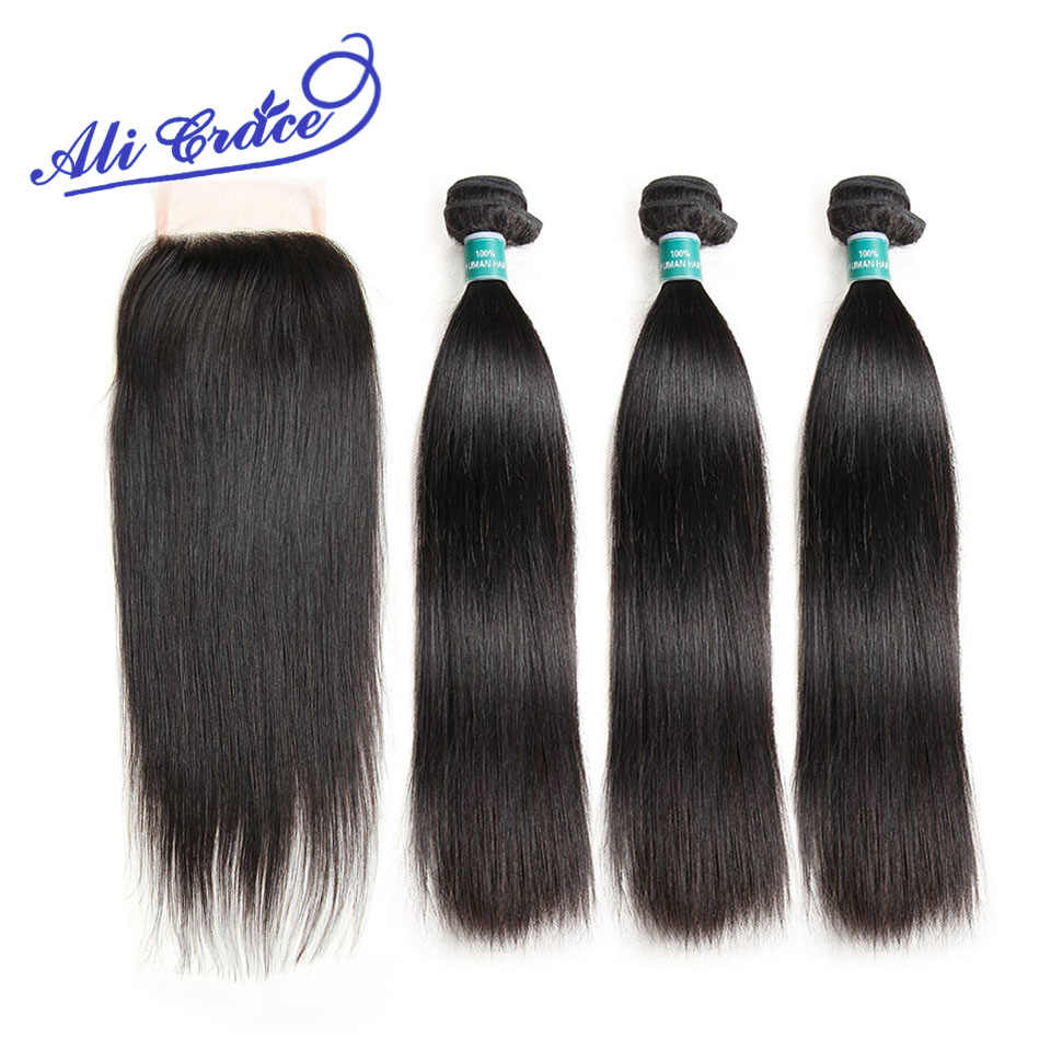 Ali Grace Hair Straight Hair 3 Bundles With Lace Closure 100% Remy Filipino Hair With 4*4 Free Middle Part Closure