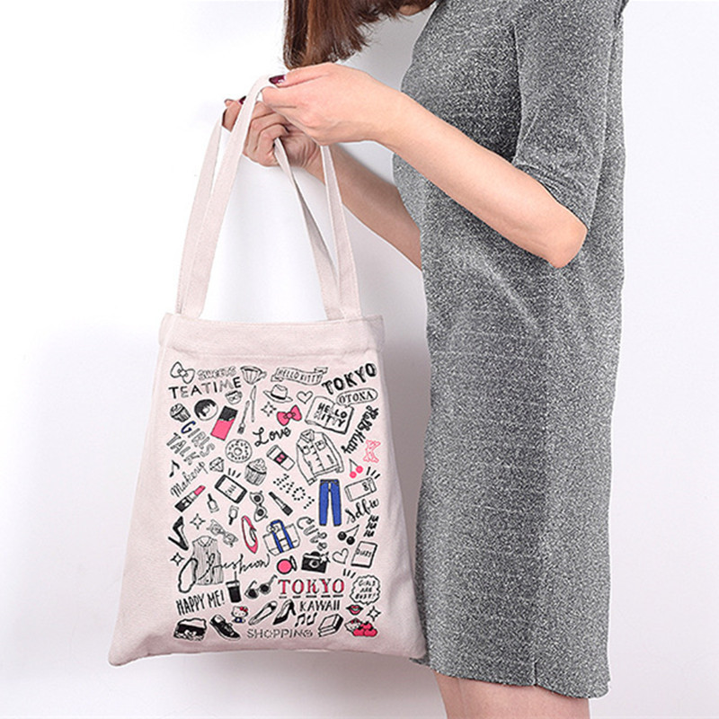 Welp YILE Cotton Canvas Eco Market Shopping Tote Shoulder Book Bag PK-01