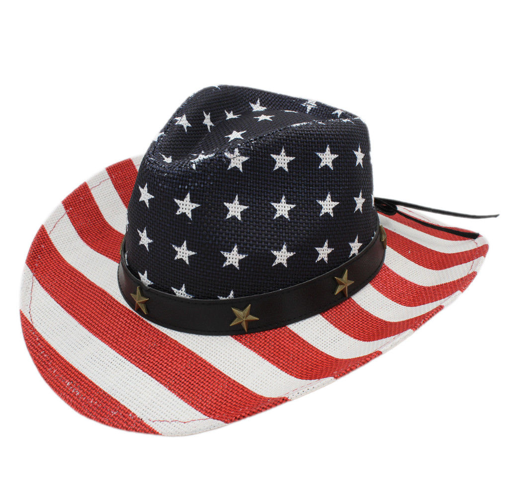 35d49e6b US $28.56 |Mistdawn Men's Women's Vintage USA American Flag Western Cowboy  Hat Cowgirl Cap Straw Summer Outdoor Beach Sun Hats-in Cowboy Hats from ...