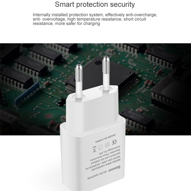 Baseus 5V 2.1A EU Plug Mini USB Charger for Samsung Xiaomi Mobile Phone Charger Adapter Travel Wall Charger for iPhone Charger 2
