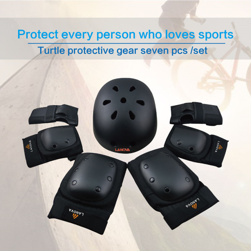 LANOVA 7pcs/Set protective patins Set Knee Pads Elbow Pads Wrist Protector Protection for Scooter Cycling Roller Skating helmet цены онлайн
