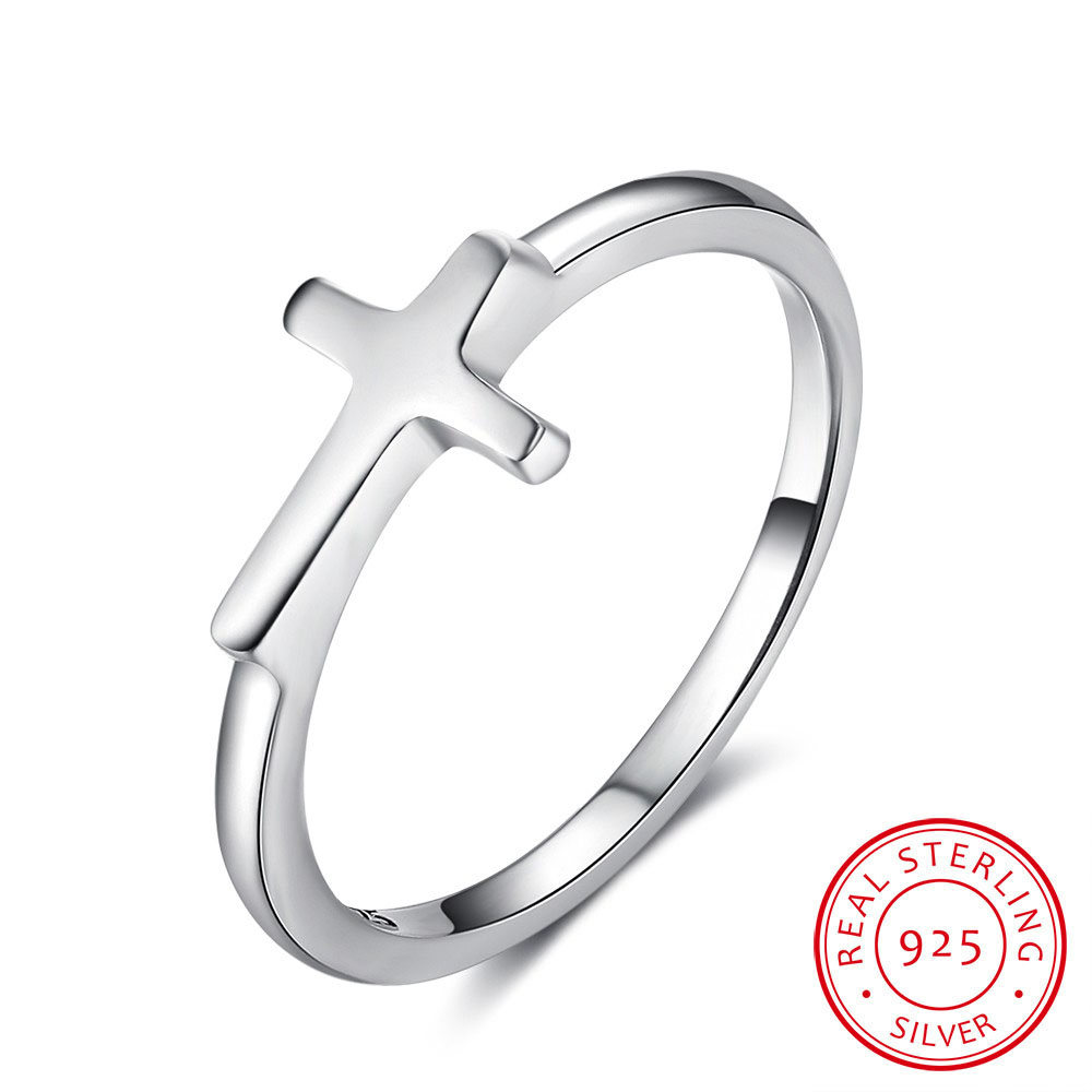 Symbol Of Faith Cross Shape 925 Sterling Silver Finger Rings For Women Jewelry Best Gift For Friends (RI102897) ...