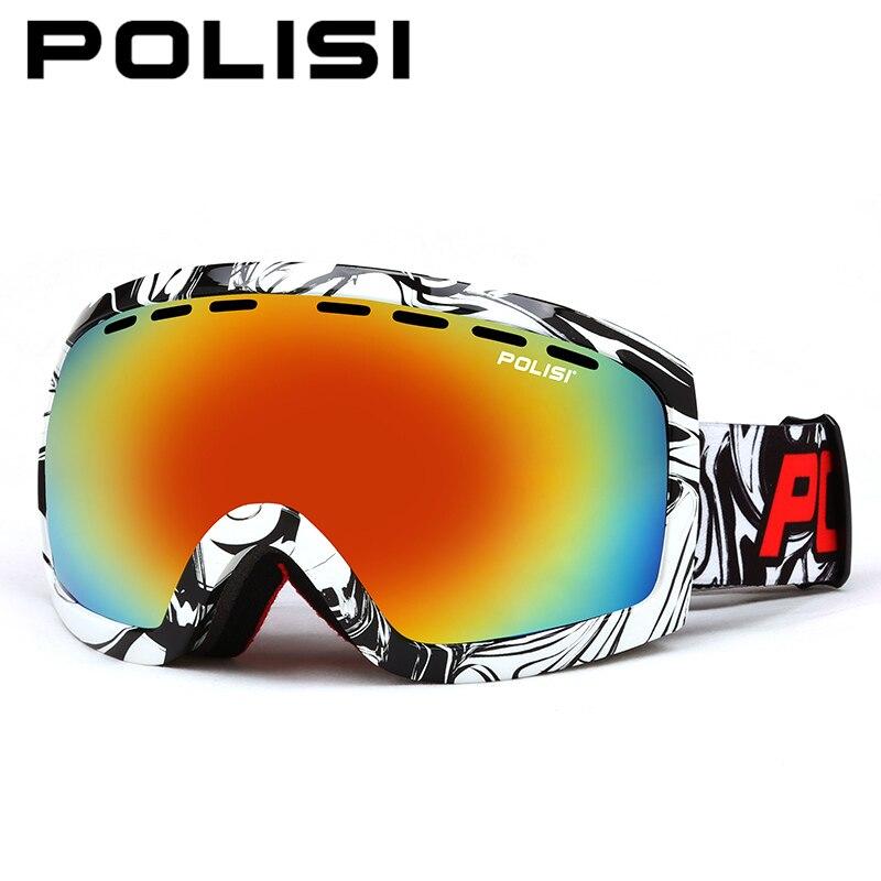 ФОТО POLISI Double Layer Large Spheral Lens Ski Goggles 100% UV Protection Anti-Fog Skiing Eyewear Anti-Fog Snowboard Snow Glasses